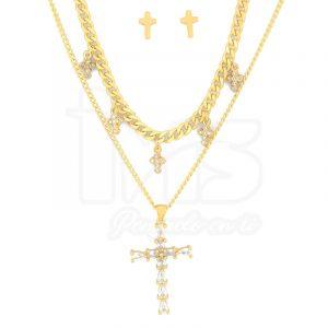 juego-set-layer-triple-cadena-doble-aretes-para-dama-mujer-acero-quirurgico-dorado-cruz