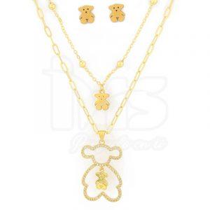 juego-set-layer-triple-cadena-doble-aretes-para-dama-mujer-acero-quirurgico-dorado-tous-oso