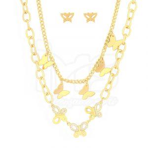 juego-set-layer-triple-cadena-doble-aretes-para-dama-mujer-acero-quirurgico-dorado-mariposas