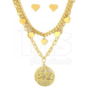 juego-set-layer-triple-cadena-doble-aretes-para-dama-mujer-acero-quirurgico-dorado-corazon-corazones